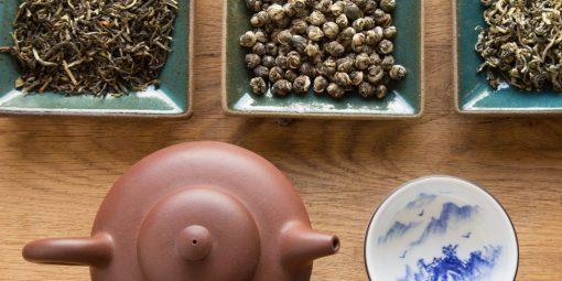 Chás especiais e bule tradicional de Yixing